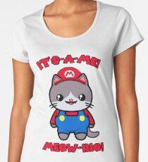 Kawaii Cat Cute Funny Mario Parody Women's Premium T-Shirt