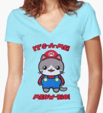 Funny Cute Cat Kawaii Mario Parody Women's Fitted V-Neck T-Shirt