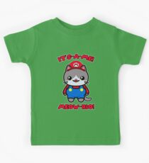 Funny Cute Cat Kawaii Mario Parody Kids Tee
