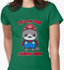 Funny Cute Cat Kawaii Mario Parody Women's Fitted T-Shirt