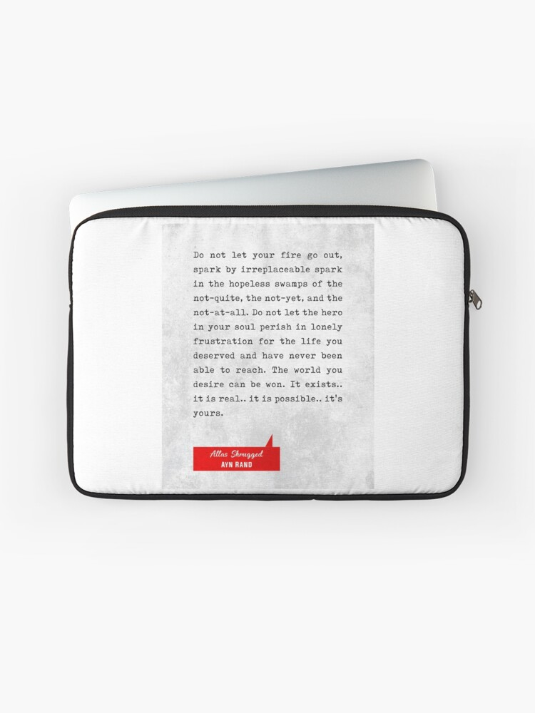 Ayn Rand Quotes Atlas Shrugged Quotes Literary Quotes Book Lover Gifts Typewriter Quotes Laptop Sleeve