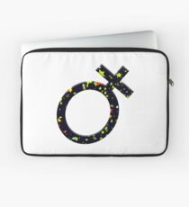Female symbol covered in stars - concept women working in science. Laptop Sleeve