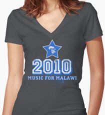 Old School Retro 2010 Blue Women's Fitted V-Neck T-Shirt