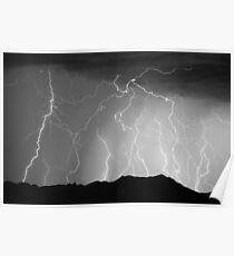 Massive Mountain Lightning Storm Poster