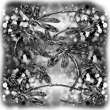 Dragonfly Bubbles Black n White by lyndseyart