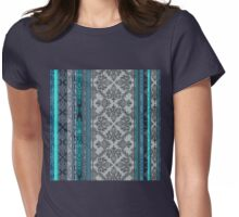 Teal, Aqua & Grey Vintage Bohemian Wallpaper Womens Fitted T-Shirt