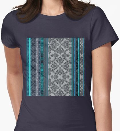 Teal, Aqua & Grey Vintage Bohemian Wallpaper Womens Fitted T-Shirt