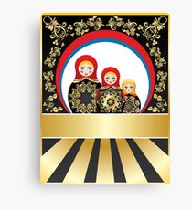 Colorful matryoshka dolls with gold floral Canvas Print