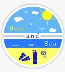 Summer rest. Equipment for diving. Sticker