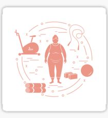Fat woman and different sports equipment. Sticker