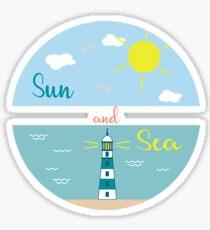 Sun, clouds, sea, beach, lighthouse. Sticker