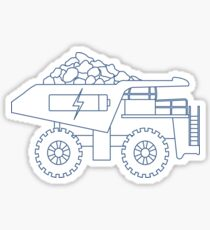 Electric dumper with ore, battery, charge symbol. Sticker