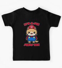 Cat Cute Funny Kawaii Mario Parody Kids Tee