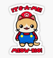 Cat Cute Funny Kawaii Mario Parody Sticker