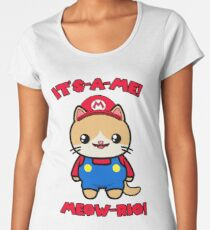 Cat Cute Funny Kawaii Mario Parody Women's Premium T-Shirt