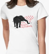 Ride bicycles not elephants. Black elephant, Red text Women's Fitted T-Shirt