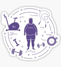 Fat man and different sports equipment. Sticker