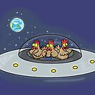 Funny chickens in space by FrogFactory