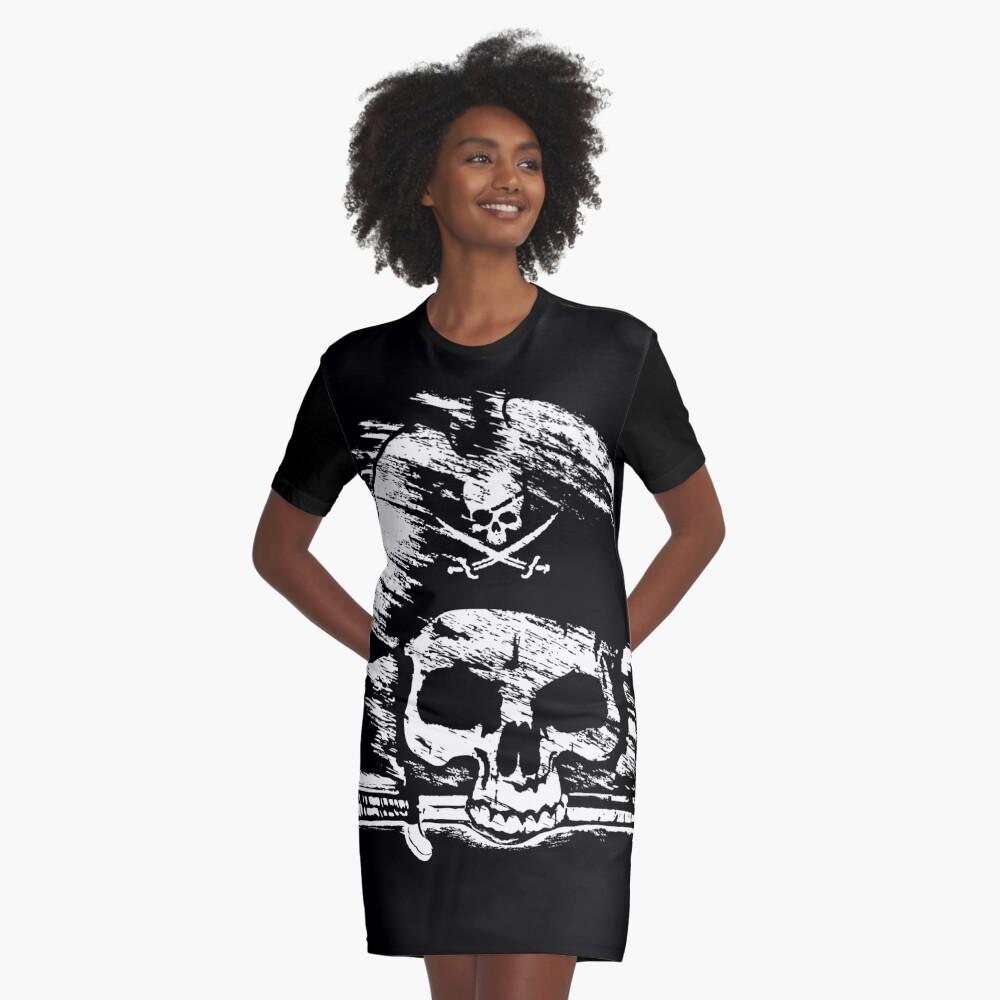 Pirates Adventure Mallorca Merchandise Skull Black Graphic T-Shirt Dress Front