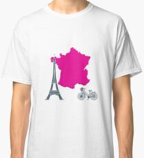 Map of France, tower, bicycle. Classic T-Shirt
