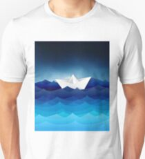 paper boat on sea Unisex T-Shirt