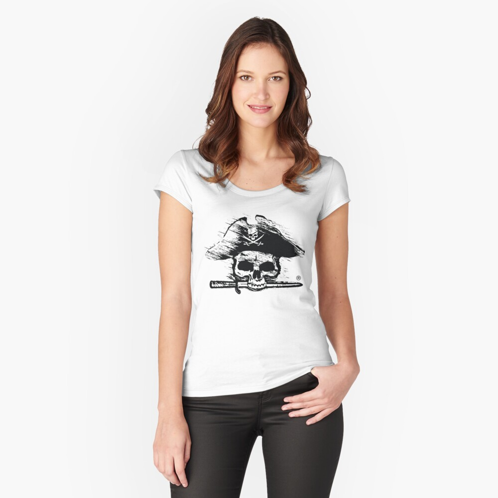 Pirates Adventure Mallorca Merchandise Skull White Women's Fitted Scoop T-Shirt Front