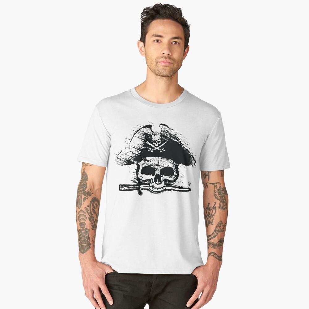 Pirates Adventure Mallorca Merchandise Skull White Men's Premium T-Shirt Front