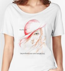 Woman in Red Hat Designe Women's Relaxed Fit T-Shirt