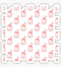 Seamless pattern with smoothie in jars and tubes. Sticker