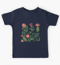 Set of symmetrical floral graphic design elements Kids Tee
