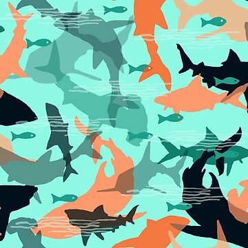 Oh My Sharks! Camo pattern of sharks by Lauriepysz