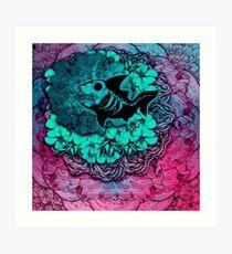 Unicorn Shark Blue Art Print