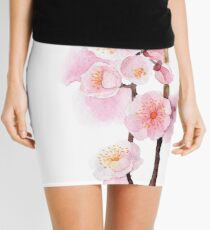 watercolor flowers of apricot Mini Skirt