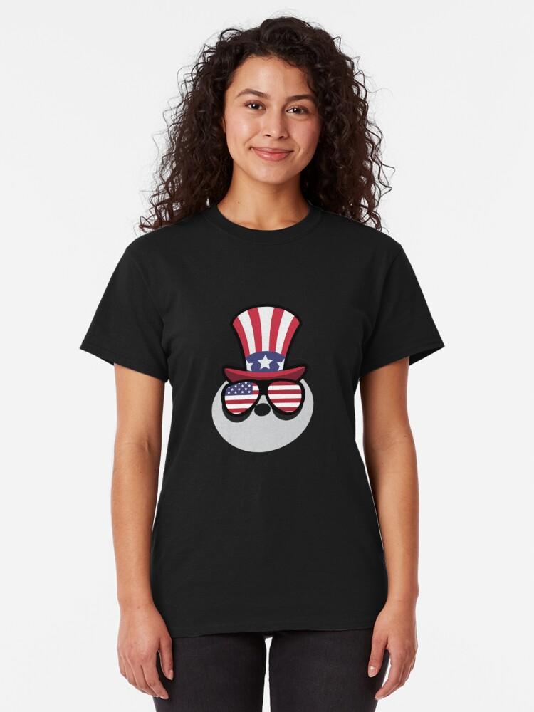 Vista alternativa de Camiseta clásica Panda Happy 4th Of July