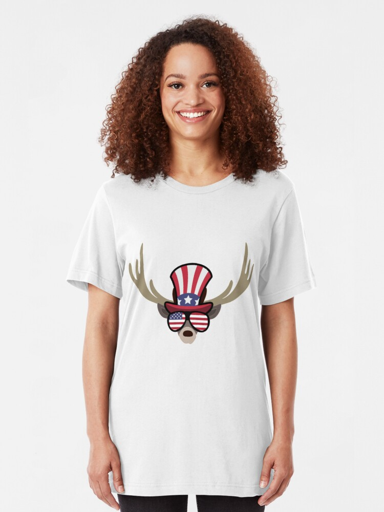 Vista alternativa de Camiseta ajustada Deer Happy 4th Of July