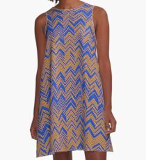 Shy Chevron Orange and Blue A-Line Dress