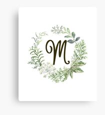 Monogram M Forest Flowers And Leaves Canvas Print