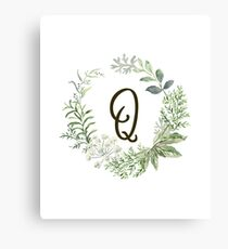 Monogram Q Forest Flowers And Leaves Canvas Print