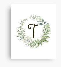 Monogram T Forest Flowers And Leaves Canvas Print