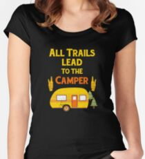 RV Camping Women Men Camper Trails Mountain Hiking Women's Fitted Scoop T-Shirt