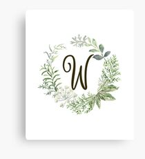 Monogram W Forest Flowers And Leaves Canvas Print