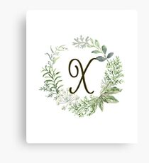 Monogram X Forest Flowers And Leaves Canvas Print
