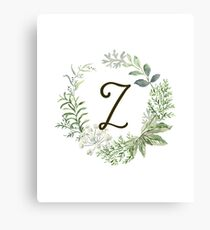 Monogram Z Forest Flowers And Leaves Canvas Print