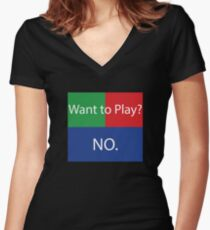 Want to Play? No. No Crossplay Gaming Women's Fitted V-Neck T-Shirt