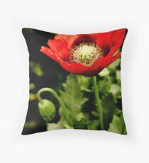 Wild poppy red Throw Pillow