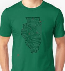 Illinois Shaped Maze | Hand Designed | Chicago/Springfield/Champaign/Peoria/Rockford Unisex T-Shirt