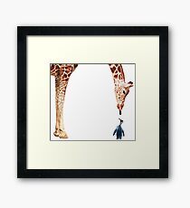 """Licker with Penguin"" Giraffe Watercolor Framed Print"