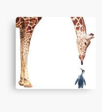 """Licker with Penguin"" Giraffe Watercolor Metal Print"