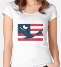 American Eagle with Minimal Flag  Women's Fitted Scoop T-Shirt