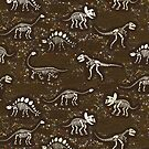 Dinosaur Fossils - cream on brown - Fun graphic pattern by Cecca Designs by Cecca-Designs